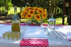 A bebida alcoólica nacional ucraniana do ` s dos povos - licor e vodca do luar Fotografia de Stock Royalty Free