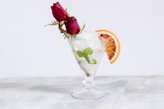 Bebida alcoólica, vidro com gelo e rum, Imagens de Stock Royalty Free