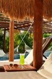 Bebida alcohólica y gafas de sol por una piscina tropical Foto de archivo libre de regalías