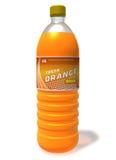 Bebida anaranjada de restauración en botella plástica Imagenes de archivo