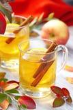 Bebida caliente con el zumo, el limón y el canela de manzana en otoño Fotos de archivo libres de regalías