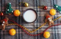 Bebida caliente del Año Nuevo Bebida de la tarde de la Feliz Navidad Leche para S Fotografía de archivo libre de regalías