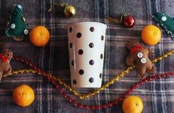 Bebida caliente del Año Nuevo Bebida de la tarde de la Feliz Navidad Leche para S Imágenes de archivo libres de regalías