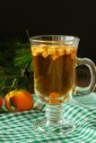 Bebida caliente del invierno con las frutas verticales Imagen de archivo