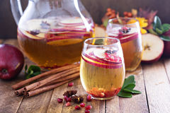Bebida chispeante de la caída con sidra y la granada de manzana Imágenes de archivo libres de regalías