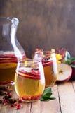 Bebida chispeante de la caída con sidra y la granada de manzana Foto de archivo libre de regalías
