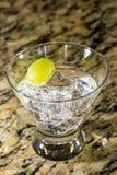 Bebida chispeante en el hielo con la fruta Imagen de archivo