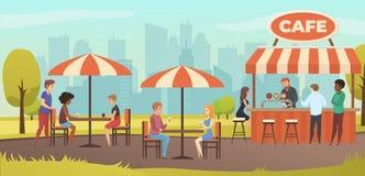 Bebida Coffe dos povos no café exterior da rua do vetor ilustração royalty free