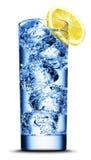 Bebida con el primer de la rebanada del hielo y del limón Imágenes de archivo libres de regalías
