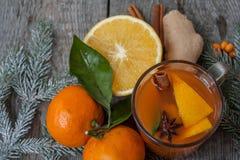 Bebida curativa del jengibre del invierno con el limón, la miel y las naranjas Imagen de archivo libre de regalías