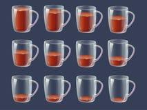 Bebida da animação da folha de Sprite - completamente, glas claros meio cheios, vazios ilustração royalty free
