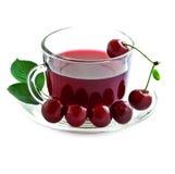 Bebida da cereja em uma caneca de vidro. Fotografia de Stock