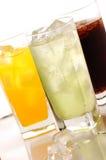 Bebida da cola, do orane e do cal Fotografia de Stock