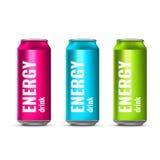 Bebida da energia em uma lata de lata Bebida refrigerando do voo Ilustração do vetor 3d ilustração stock