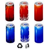 A bebida da energia enlata o vetor Imagens de Stock Royalty Free