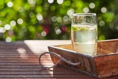 Bebida da hortelã fresca com gelo em um vidro em uma tabela de madeira fotografia de stock