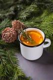 Bebida de la Navidad o de la acción de gracias Cóctel del otoño y del invierno con la naranja, espino cerval de mar, romero, espe Fotografía de archivo libre de regalías