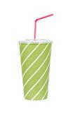 Bebida de la soda con la paja roja Foto de archivo