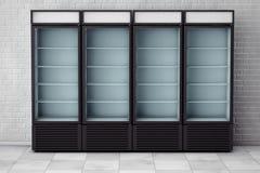 Bebida de los refrigeradores con la puerta de cristal representación 3d Fotos de archivo libres de regalías