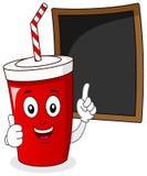 Bebida de papel de la soda con la pizarra del menú Imagen de archivo libre de regalías