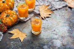 Bebida del cóctel de la bebida del alcohol del otoño de la acción de gracias con las calabazas y las hojas Imagen de archivo libre de regalías