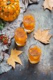 Bebida del cóctel de la bebida del alcohol del otoño de la acción de gracias con las calabazas y las hojas Fotografía de archivo