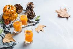 Bebida del cóctel de la bebida del alcohol del otoño de la acción de gracias con las calabazas y las hojas Imágenes de archivo libres de regalías
