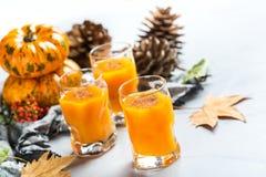 Bebida del cóctel de la bebida del alcohol del otoño de la acción de gracias con las calabazas y las hojas Fotografía de archivo libre de regalías
