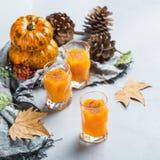 Bebida del cóctel de la bebida del alcohol del otoño de la acción de gracias con las calabazas y las hojas Foto de archivo libre de regalías