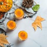 Bebida del cóctel de la bebida del alcohol del otoño de la acción de gracias con las calabazas y las hojas Imagenes de archivo