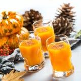 Bebida del cóctel de la bebida del alcohol del otoño de la acción de gracias con las calabazas y las hojas Fotos de archivo