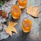 Bebida del cóctel de la bebida del alcohol del otoño de la acción de gracias con las hojas Fotografía de archivo libre de regalías
