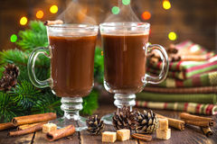Bebida del cacao de la Navidad Fotos de archivo