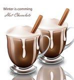 Bebida del chocolate caliente en vector realista de los vidrios bebida pourring azotada de la crema Fotos de archivo libres de regalías