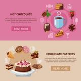 Bebida del chocolate y banderas de los pasteles stock de ilustración