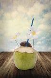 Bebida del coco con las nubes en estilo del vintage Imagen de archivo libre de regalías