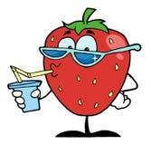 Bebida del jugo del personaje de dibujos animados de la fresa Foto de archivo libre de regalías