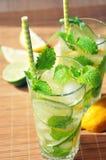 Bebida del verano con el limón, la cal, la menta y el hielo en vidrios Fotografía de archivo libre de regalías