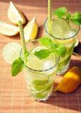 Bebida del verano con el limón, la cal, la menta y el hielo en vidrios Fotografía de archivo