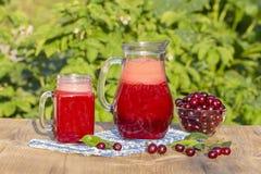 Bebida dietética del detox con la cereza roja en agua clara con hielo Jugo de la cereza en jarro y en las cerezas de cristal y ma Imagen de archivo libre de regalías