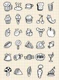 Bebida do alimento do Doodle, tração da mão Fotografia de Stock