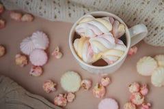 Bebida do chocolate quente com marshmallow, beze, pipoca Fotografia de Stock