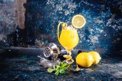 A bebida do cocktail da vodca serviu o frio com decora na barra Detalhes do empregado de bar e elementos do bar fotos de stock