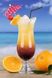 Bebida do cocktail do nascer do sol do Tequila no mar Fotos de Stock Royalty Free