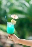 Bebida do cocktail na mão da mulher com espaço da cópia Fotos de Stock