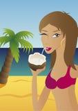 Bebida do coco em um console Fotografia de Stock Royalty Free