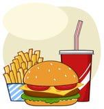 Bebida do Hamburger do fast food e desenhos animados das batatas fritas que tiram o projeto simples ilustração stock