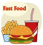 Bebida do Hamburger do fast food e desenhos animados das batatas fritas que tiram o projeto simples ilustração do vetor