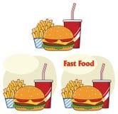 Bebida do Hamburger do fast food e desenhos animados das batatas fritas que tiram o projeto simples coleção ilustração stock