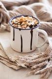 Bebida do inverno da canela dos marshmallows do chocolate quente dos costumes do ` de S mini fotografia de stock royalty free